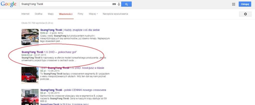 SsangYong Tivoli w Google News Moto3m